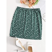 SHEIN Ditsy Floral Elastic Waist Skirt