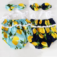 2Pcs Lemon Set Newborn Infant Baby Girl Floral Romper Jumpsuit Outfits Sunsuit headband Clothes