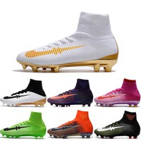 2017 New Football Shoes Mercurial Superfly V FG Men Cleats High Quality Soccer Boots Original Discount Striped Sports Shoes Size 6.5-11