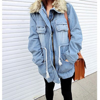 Women Denim Faux Fur Collar Jacket Coat Long Outerwear Park Overcoat Cardigan  F_F = 1902461316