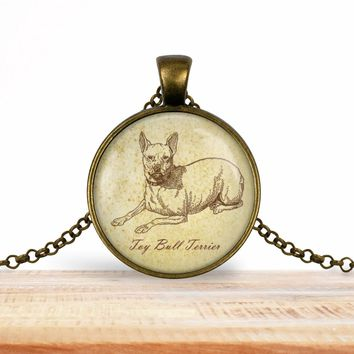 Toy bull terrier pendant necklace, choice of silver or bronze, key ring option
