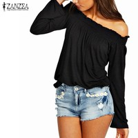Ladies Solid Shirred Off Shoulder Tops Casual Long Sleeve Blouse Shirt Plus Size