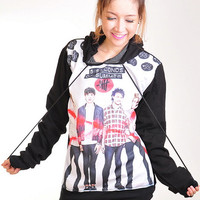 5 Seconds Of Summer 5SOS Punk Rock Hoodie Jacket Biker Sweater Tops Women Girl Sz S,M,L