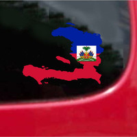 Haiti  Outline Map Flag Vinyl Decal Sticker Full Color/Weather Proof.