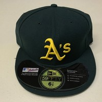 NWT OAKLAND A'S GREEN WITH YELLOW LOGO ONFIELD FLAT BRIM NEW ERA 5950 FITTED HAT