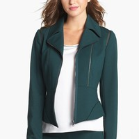 T Tahari 'Macey' Faux Leather Trim Knit Jacket | Nordstrom