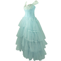 VINTAGE 1940-50's SHELF BUST BABY BLUE TULLE PARTY WEDDING DRESS