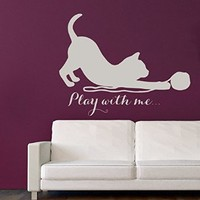Wall Decals Vinyl Decal Sticker Children Kids Nursery Baby Room Pet Shop Interior Design Home Decor Art Mural Kitten Quote Cat Lettering Play with Me Pets Kg882