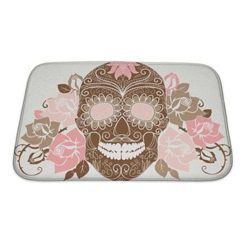 Bath Mat, Skull And Roses Colorful Day Of The Dead Card