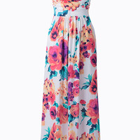 Cupshe Floral to Ceiling Strapless Maxi Dress