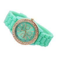 Geneva Quartz Analog Rhinestone Watch Mint Green