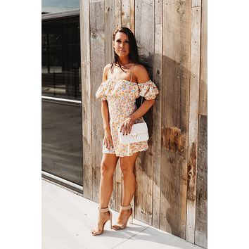 Bubble Floral Dress (Yellow/Pink)