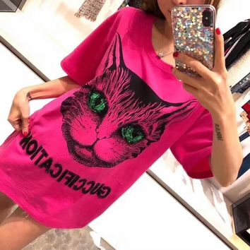 """""""Gucci"""" Women Casual Fashion Sequin Letter Embroidery Cat Head Print Short Sleeve T-shirt Top Tee"""
