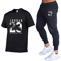 Summer Hot Sale Men's Sets T Shirts pants Two Pieces Sets Casual Tracksuit Male 2020 Casual Tshirt Print Jordan 23 Trouse