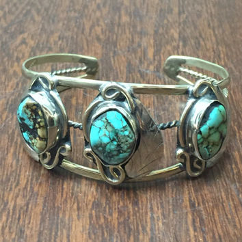 Navajo Sterling Silver and Turquoise Cuff Bracelet   Native American Indian Boho Tribal Ethnic Jewelry   Turquoise Cuff   Turquoise Bracelet