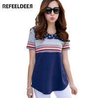 Refeeldeer Summer T-Shirt Women 2017 Short Sleeve T-shirt Female Plus Size 4XL T shirt Women Graphic Tops Tee Shirt Femme Tshirt