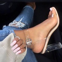 High-heeled shoes with a pair of open-toe crystal shoes transparent and sandals
