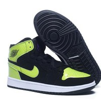 Hot Air Jordan 1(I) Retro Women Shoes Black Green White
