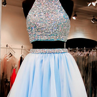 Two Pieces Homecoming Dress,Beading Homecoming Dress
