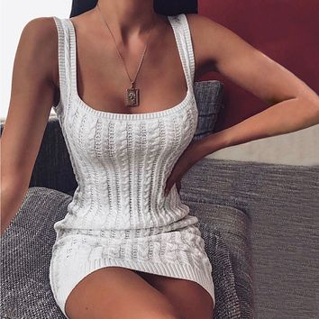 Simple Fashion Solid Color Sleeveless Strap Knit Sweater Pack Hip Mini Dress
