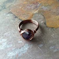 Amethyst ring, wire wrapped copper, wide band