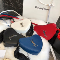 Saint Laurent YSL MONOGRAM MINI HEART-SHAPED BAG IN SMOOTH LEATHER
