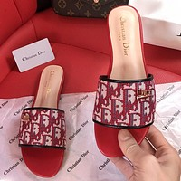 DIOR high D letter slippers summer new lazy slippers CD buckle embroidered metal buckle beach shoes Red