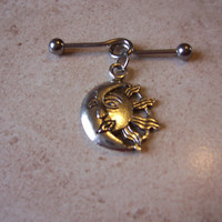 Industrial Barbell With Tribal Sun and Moon Body Jewelry