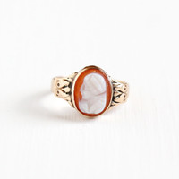 Antique 10k Rose Gold Hardstone Cameo Ring - Victorian Vintage Size 5.5 Carved Banded Agate Female Silhouette Fine Dainty Jewelry