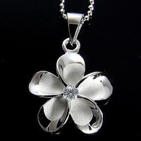SILVER 925 HAWAIIAN FANCY PLUMERIA PENDANT RHODIUM 18MM