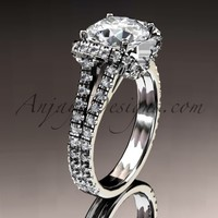 """14kt white gold diamond unique engagement ring, wedding ring with a """"Forever Brilliant"""" Moissanite center stone ADER107"""