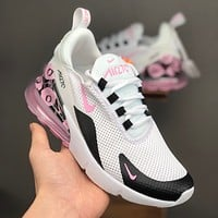 Nike Air Max 270 White Black Pink Floral Running Shoes - Best Deal Online