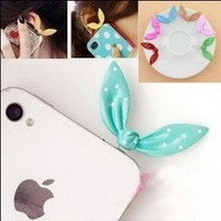 CASESTORE New Design High Quality Rhinestone Bunny Ear Cellular Phone Accessories 3.5mm Cellphone Charms Anti-dust Dustproof Earphone Audio Headphone Jack Plug Stopper for Iphone 3g 3gs 4 4s Ipad 2 3 (The New Ipad)and Other 3.5mm Ear Jack, Blackberry Z10,i