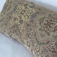 "Cream Navy Burgundy Floral Medallion Pillow Cover, 12 x 23"" Lumbar, Blue Red Ivory Gold Chenille Tapestry, Cover Only,  Ready Ship"