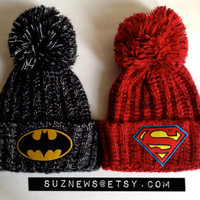 Batman Beanie Knit Hat Patch Pom Pom Heather Knit Cuffed Beanie// SuzNews Etsy