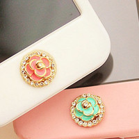 1 pcs  Bling Crystal Flower iPhone Home Button Sticker for iPhone 4,4s,4g, iPhone 5, iPad, Cell Phone Charm