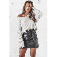 Drama Queen Gray V Neck Distressed Sweater