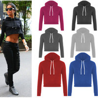 Women  Short Hooded Sweatshirt Casual Loose Hoodies Sport Tracksuits Pullovers Tops Outerwear