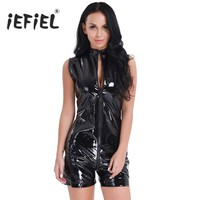 iEFiEL Fashion Sexy Women Wetlook Patent Leather Zipper Front Sleeveless Leotard Bodysuit Catsuit Clubwear Night Party Costumes