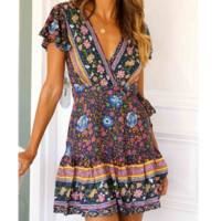 Summer Women's Fashion Sexy V-neck Floral Vacation Beach Dress