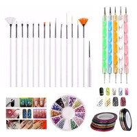 Bittb Nail Art Tool Set Nail Brush Dotting Pen Decal Line Sticker Rolls Manicure 3D Rhinestones Gel Stamp DIY Nail Beauty Kits