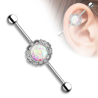 Opal Glitter Industrial Barbell Surgical Stainless Steel 14ga Body Jewelry