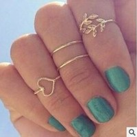 8pcs/2set(1 set gold and 1 set silver) Fashion Women Silver & Gold Jewelry Mid-Finger Rings Knuckle ring Set Sweet heart Leaf Rhinestone = 5987703681