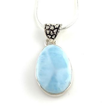 Larimar Sterling Silver True Blue Pendant