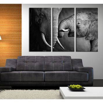 Large Wall Canvas ART Baby and Mother Big Elephant Photo on Canvas Print + Ready to Hang + Great