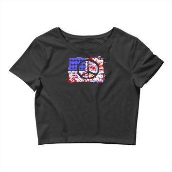 american flag peace Crop Top