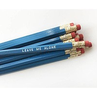 Leave Me Alone Engraved Pencil Set in Blue with White Text
