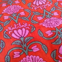 Lotus print cotton fabric in Red and Pink