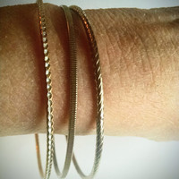 Bangle Bracelets Set of 3 Gold and Silver Tone Metal Vintage Jewelry Jewellery Accessory Gift Guide Cottage Chic Stackable Women