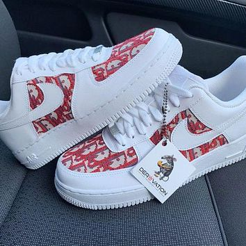 Nike Air Force 1 x Dior Print Contrast Shoes Women Men Trending Shoes White+Red